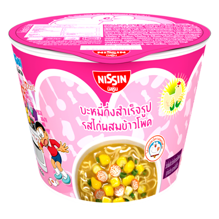 Nissin Doraemon Mini Cup Instant Noodles  Chicken With Corn Flavour Size 40g