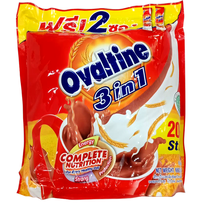 Ovaltine 3in1 Chocolate Flavour Malt Beveragel Size 30g Pack of 20+2Sticks