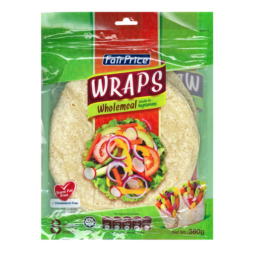 SINGAPORE WRAP WHOLE MEAL 8s   per Pack