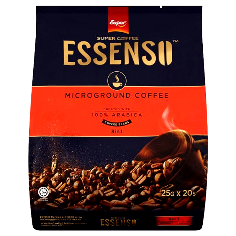 Super Coffee Essenso Microground Coffee 3 in 1 Coffee Beans 25g Pack of 20Sticks