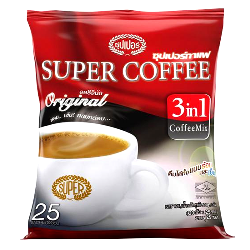 Super Coffee Original 3 In 1 Instant Coffee Mix Aroma Coffee Powder Size 20g Pack of 25 sachet
