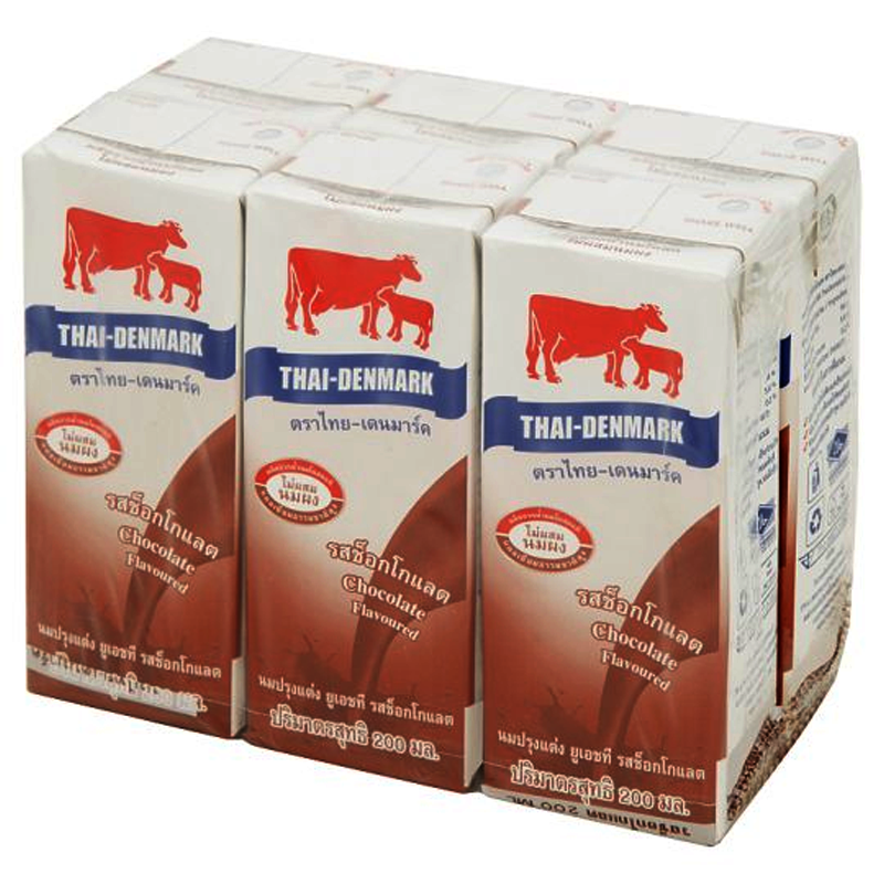 Thai-Denmark Chocolate Flavoured UHT Milk Product 200ml Pack of  6boxes