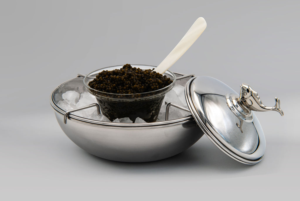 Beluga Caviar Server, with Ice and Ossetra Caviar