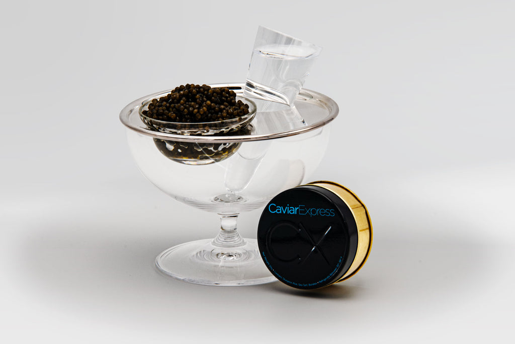 Solo Caviar Vodka Cup with Ossetra Caviar from Caviar Express