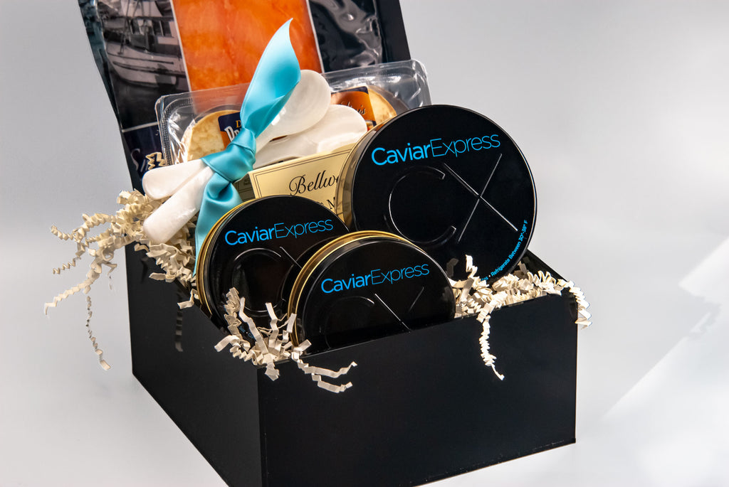 Caviar Indulgence Gift Basket, comes with 9.5 oz of Imperial , 4.5 oz of Iranian, and  4.5 oz of Sevruga