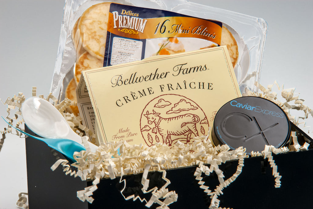 Ossetra Caviar Gift Basket, close-up