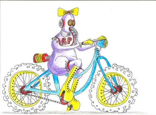 014, Grayson Perry CBE RA, Untitled (Safe cycling in heels), Mixed media drawing 140x190mm