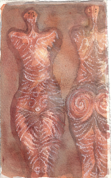 018, Emma Burleigh, Cucuteni Goddesses, Watercolour resist 185x126mm