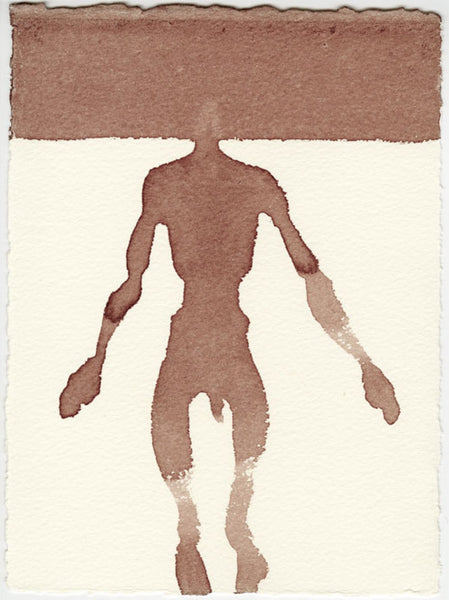 019, Antony Gormley, Hold, 2020, Hare's blood on paper 190x140mm