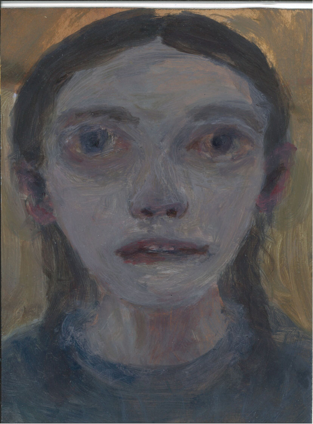 054, Joy Wolfenden Brown, Untitled (Girl), Oil on card 190x140mm