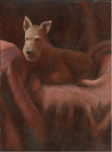 065, Stephen Jacobson VPRWA, Dog in a Chair, Oil on paper 190x140mm
