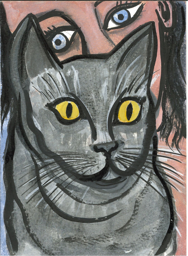 068, Eileen Cooper RA, Untitled (Cat), Mixed media 190x140mm