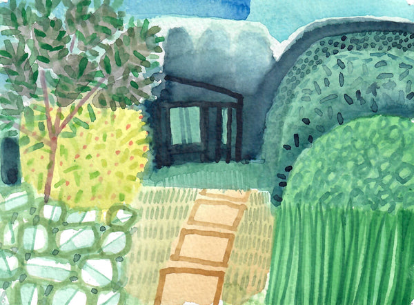 091, Andrew Walton, Garden & studio, Watercolour 140x190mm
