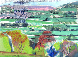 092, Rosalind Cuthbert RWA, The Lox Yeo Valley, Mixed media collage 140x190mm
