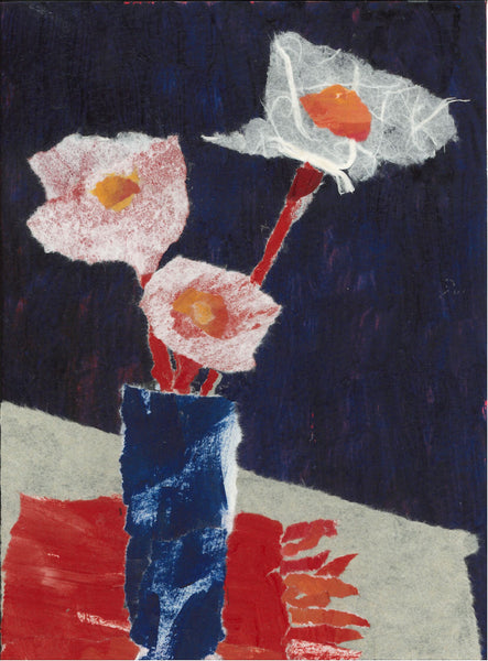 098, Rosemary Burton, Blue vase, Paper collage 190x140mm