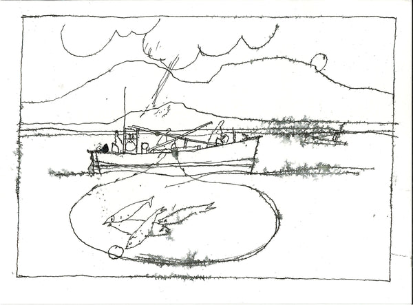 106, Will Maclean RSA, Untitled (Trawler), Ink on paper 140x190mm