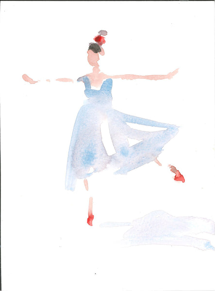 148, Lucy Willis RWA, Untitled (Dancer: red shoes), Watercolour 190x140mm