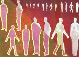 155, Peter Ford RE RWA, Walking, talking and standing still II, Relief print on Arches paper, 1/1 140x190mm