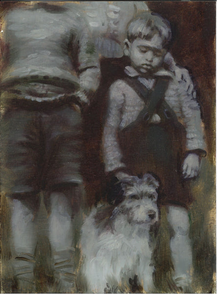 156, Angela Lizon RWA, Untitled (boy and dog), Oil on paper 190x140mm