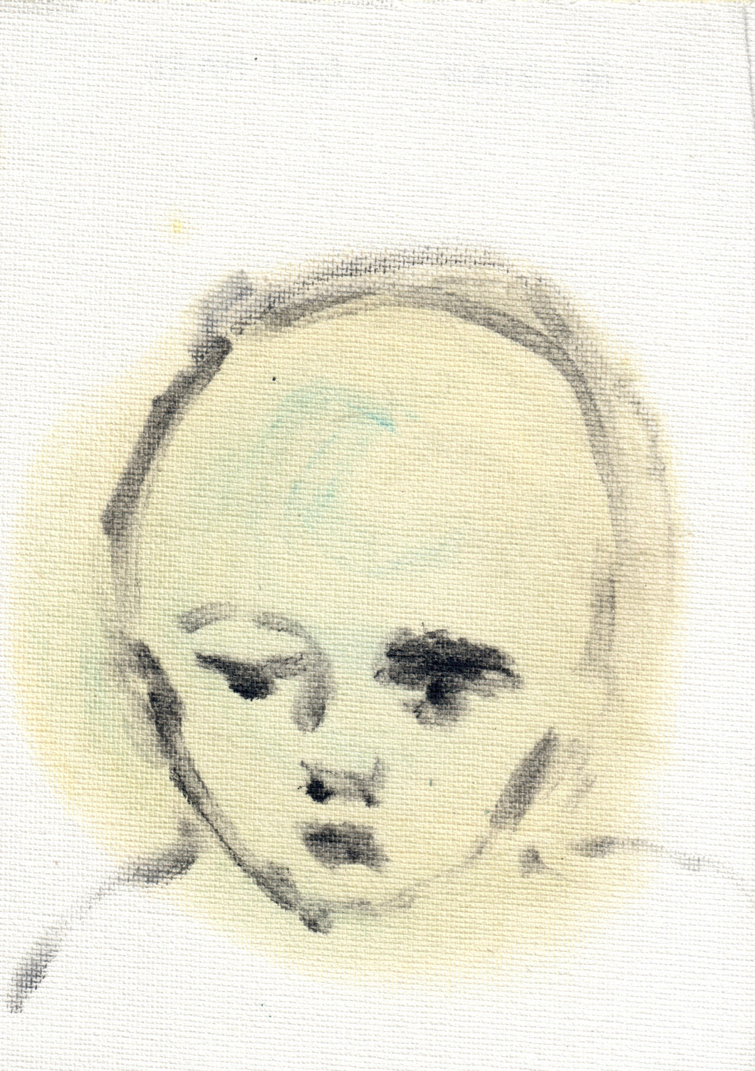 173, Niki Hare, Untitled (Child's head), Mixed media on canvas 178x125mm