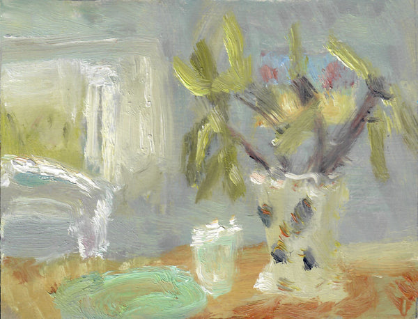 178, Alice Mumford RWA, Untitled (Still life with vase), Oil on board 140x190mm