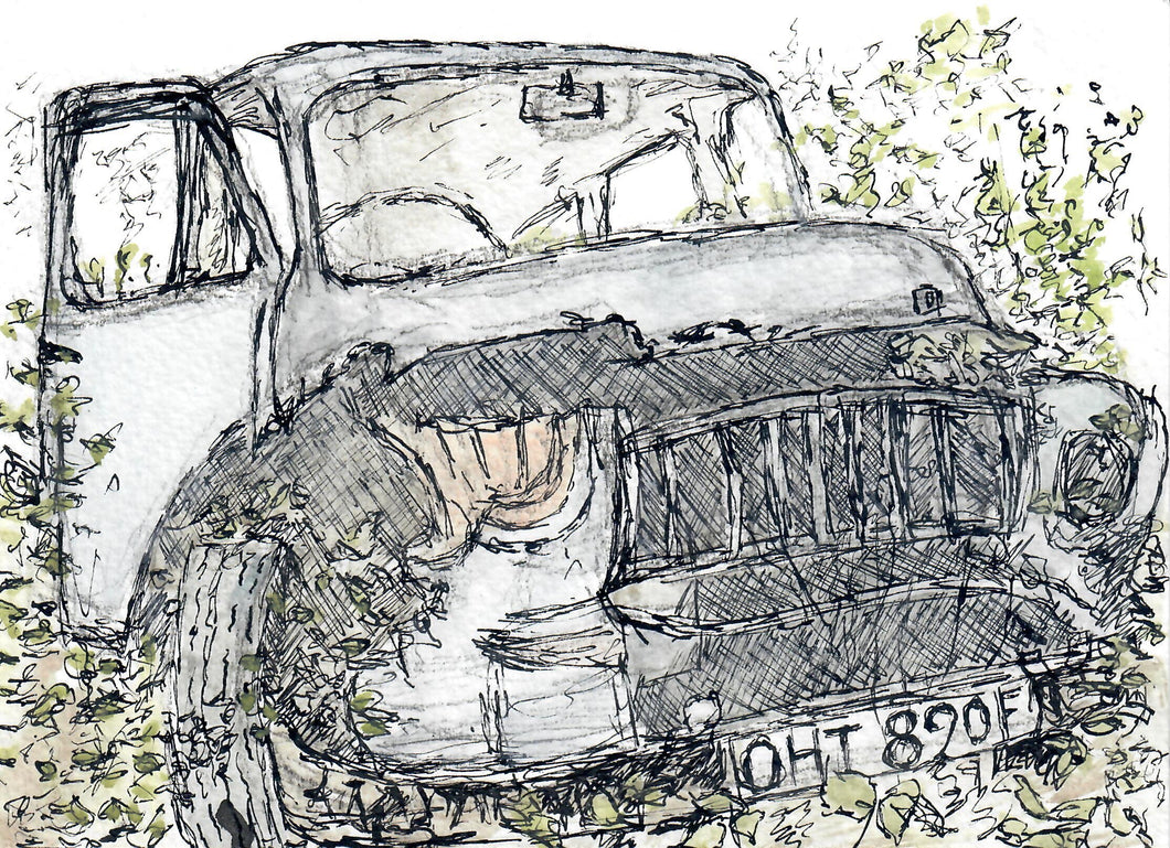 180, Rebecca Cains RWA, Abandoned Bedford, Mixed media on paper 140x190mm