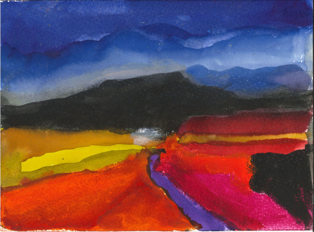 189, Glenys Cour, Untitled (Gower Landscape II), Gouache on paper 190x140mm