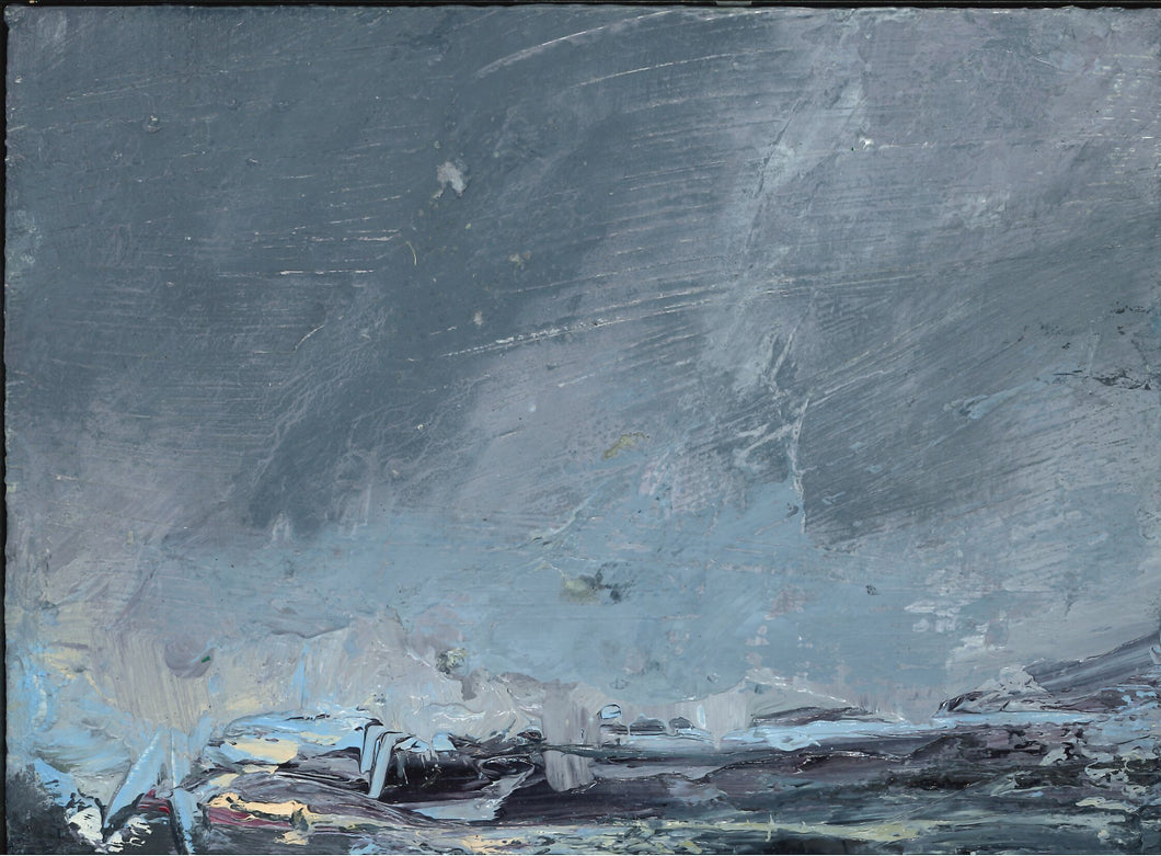 211, Janette Kerr PhD PRWA, Fast moving clouds, Brindster, Shetland, Oil on board 140x190mm
