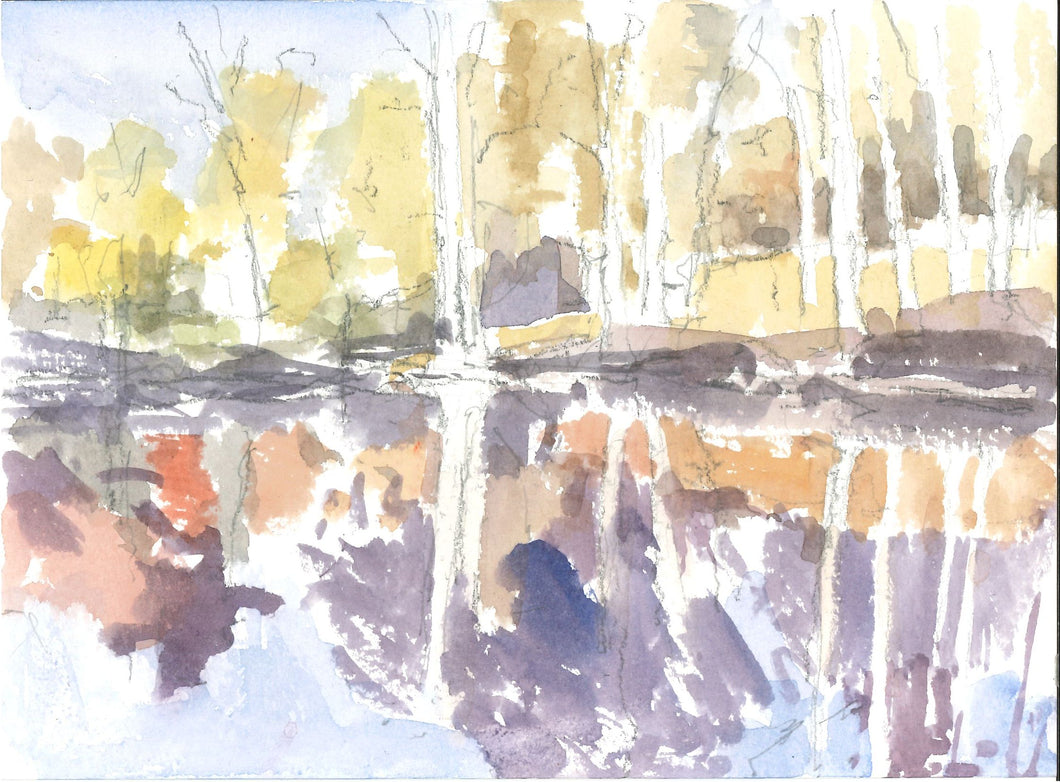 230, Christopher Glanville RWA, Reflected Trees, Esher Common, Pencil and watercolour 140x190mm