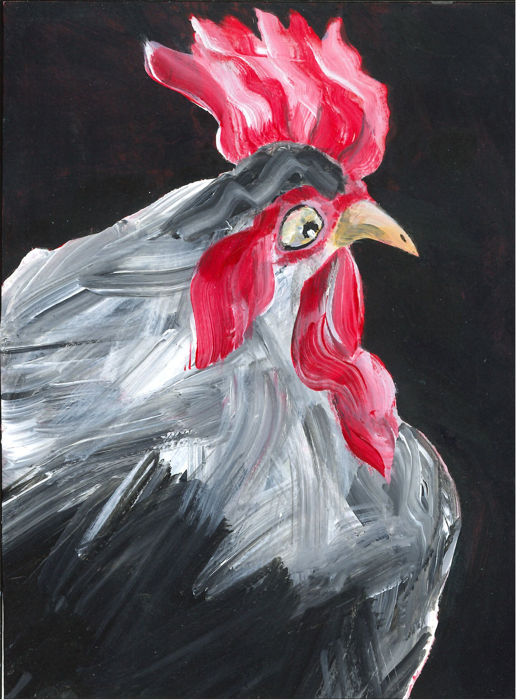 252, Onny Thomson, Henpecked, 2020, Acrylic on watercolour paper 190x140mm