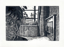 295, Wendy Elia RWA, Self portrait, Wood engraving 1980, hand printed, 1/5 140x190mm