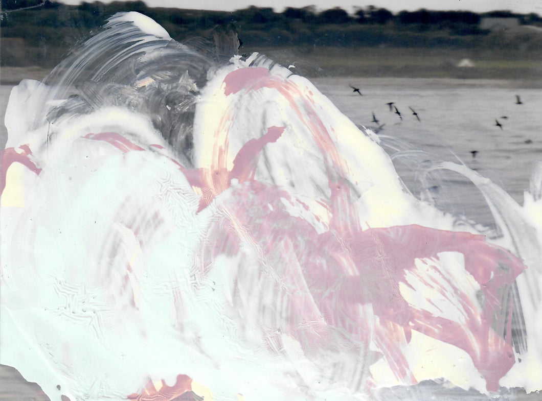 322, Sara Dudman RWA, Tide Incursion Yorkshire to the Isles of Scilly (Shearwaters) Study 5, Oil over digital printed photograph 150x202mm
