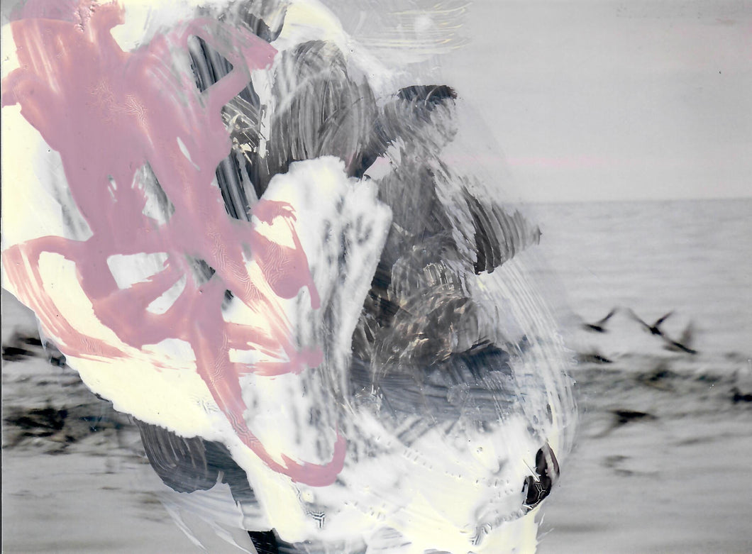 323, Sara Dudman RWA, Tide Incursion Yorkshire to the Isles of Scilly (Shearwaters) Study 3, Oil over digital printed photograph 150x202mm