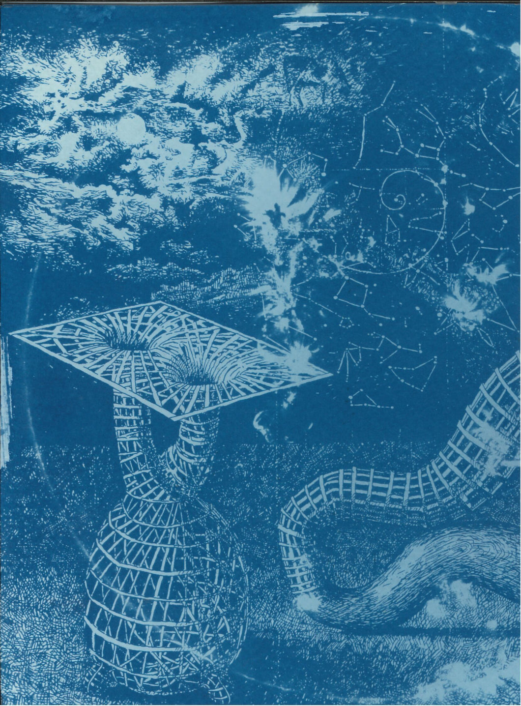 328, Chris Dunseath RWA, Night Sky & Double Wormhole, Cyanotype (1/1) 190x140mm
