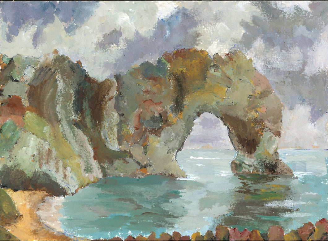 354, Denis Baxter RWA, Durndle Dor, Dorset's Jurassic Coast, Mixed media 140x190mm