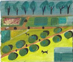 356, Jenny Eclair, Untitled (London parks #artinlockdown), Mixed media on paper 129x150mm