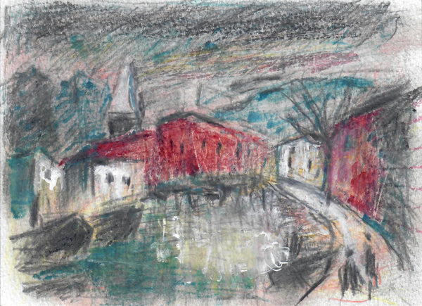 358, Barrington Tabb RWA, Bristol City Docks, Mixed media drawing 140x190mm