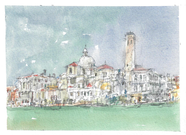 360, John Palmer RWA, Church off San Geremia, Venice, Watercolour and pencil 140x190mm