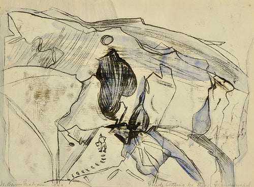 Wilhelmina Barns-Graham, Glacier Study with Guide Cutting Steps Grindelwald, 1949