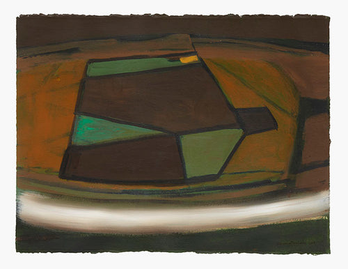 Wilhelmina Barns-Graham, Brown, Green and Ochre with White Line (Orkney), 1988