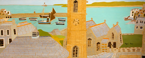 Bryan Pearce, The Harbour and St Ia's Church, St Ives, 1967