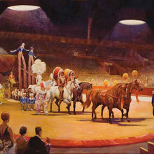 The Grand Parade, Bertram Mills Circus at Olympia, Edward Seago, 1932, oil on canvas, courtesy of Gerry Cottle, Wookey Hole