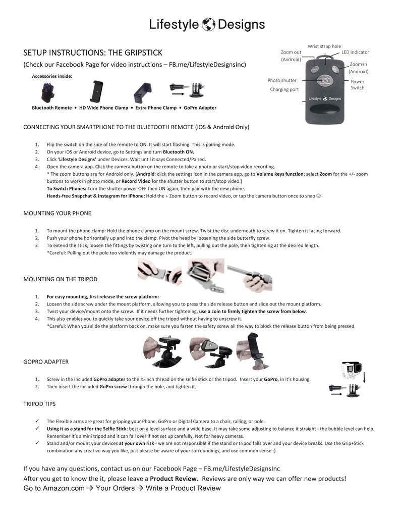 Gripstick Instructions Manual