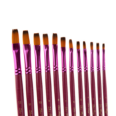 12 Flat Front Nylon Hair Rod Brush Set - Purple