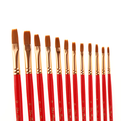 12 Flat Front Nylon Hair Rod Brush Set - Red