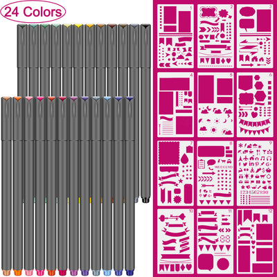 24 Color Fineliner Pens and 12 Pieces Plastic Planner Kit