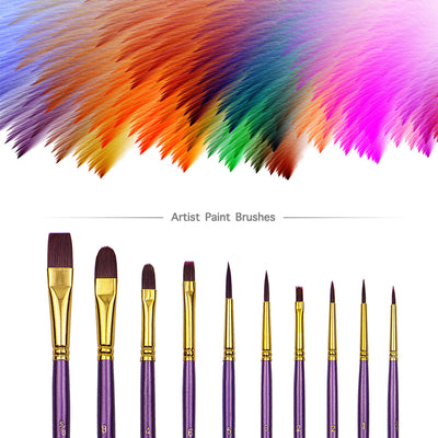 10 Nylon Hair Paint Brush Set - Purple