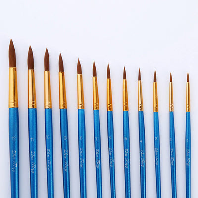 12 Nylon Hair Pointed Paint Brush set - Pearl Blue