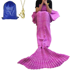 "Heartybay Crochet Mermaid Tail Blanket for Adult, Super Soft All Seasons Sleeping Mermaid Blanket (71""x35.5"") - Pink"