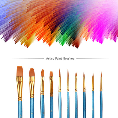 10 Nylon Hair Paint Brush Set - Blue